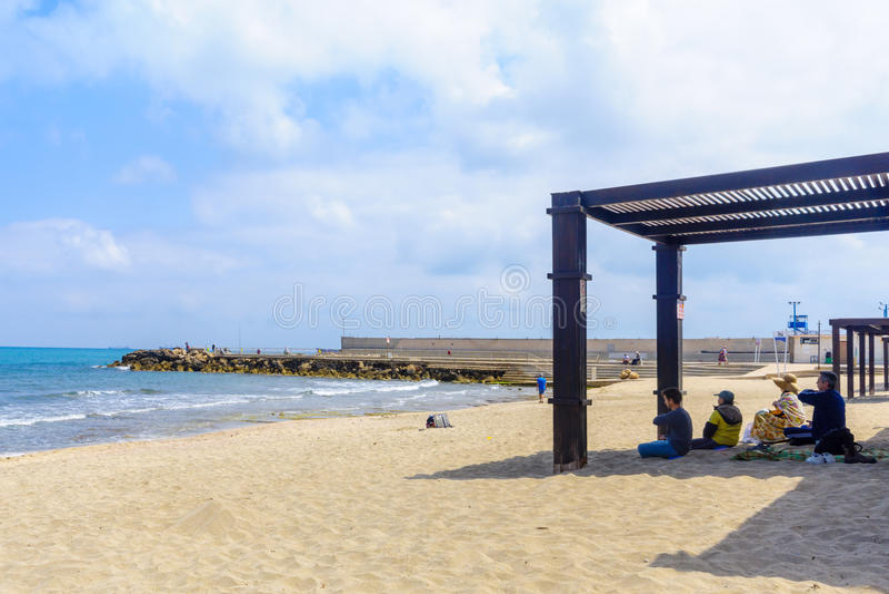 Beach scene in Bat Galim neighborhood, Haifa royalty free stock photos