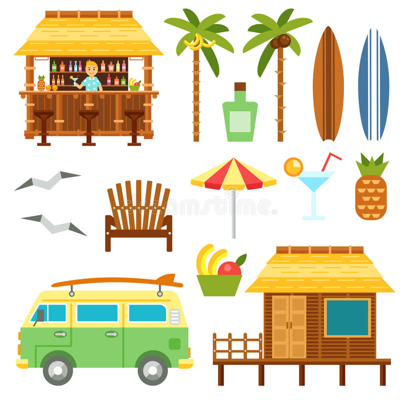 Beach scene elements. With bar, surf van, umbrella, chair and bungalow hotel isolated on white. Flat summer palm tree surfboard, coctail, pineapple vector set royalty free illustration