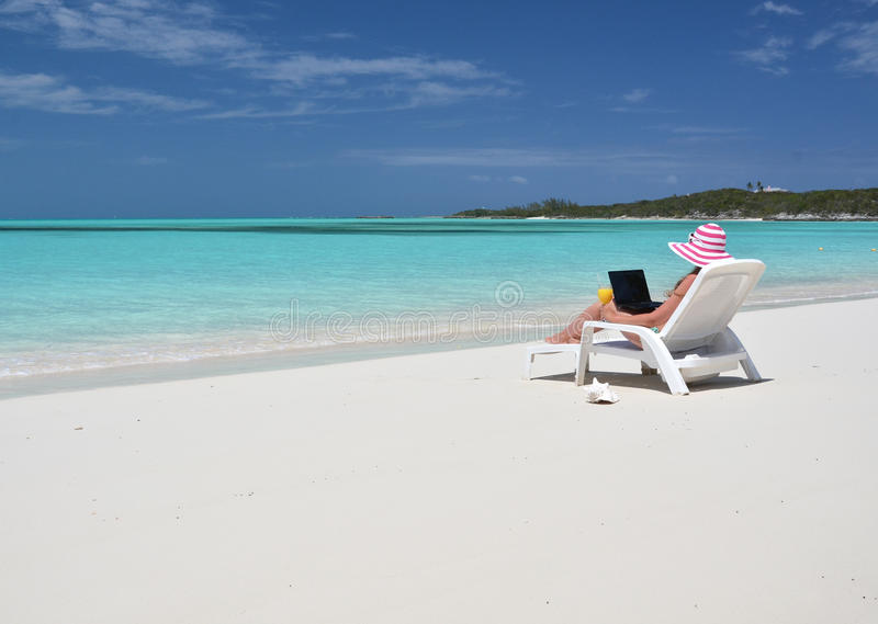 Beach scene, Exuma, Bahamas. Beach scene, Great Exuma, Bahamas royalty free stock photos