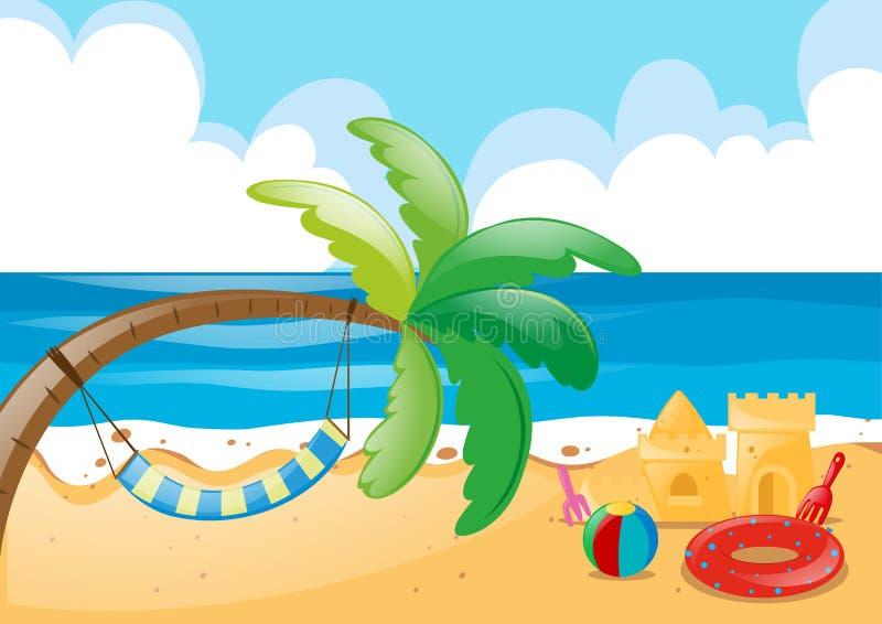 beach scene with hammock on tree stock vector illustration of clip rh dreamstime com summer beach scene clip art Ocean Beach Clip Art