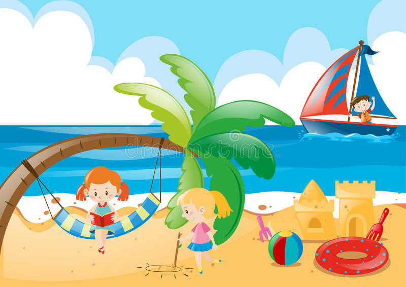 beach scene with kids playing stock vector illustration of holiday rh dreamstime com palm tree beach scene clipart Beach Scene Silhouette Clip Art