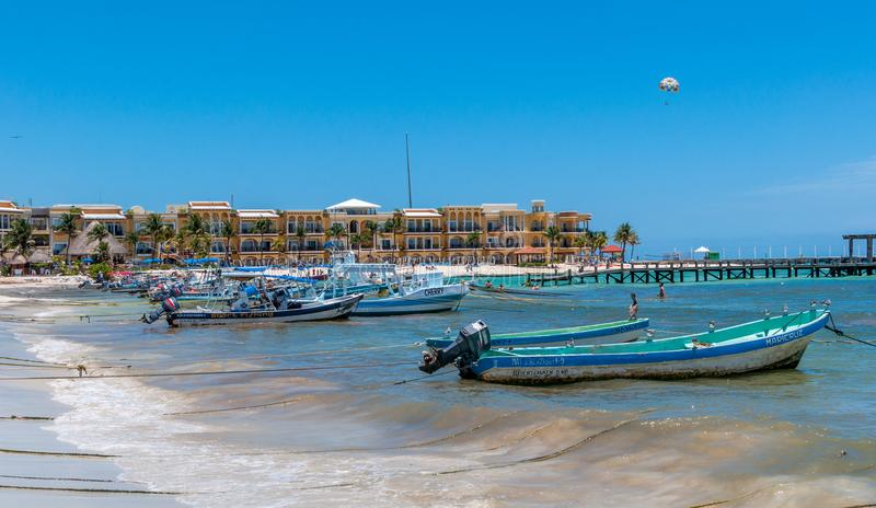 Beach Scene at Playa del Carmen, Mexico royalty free stock image