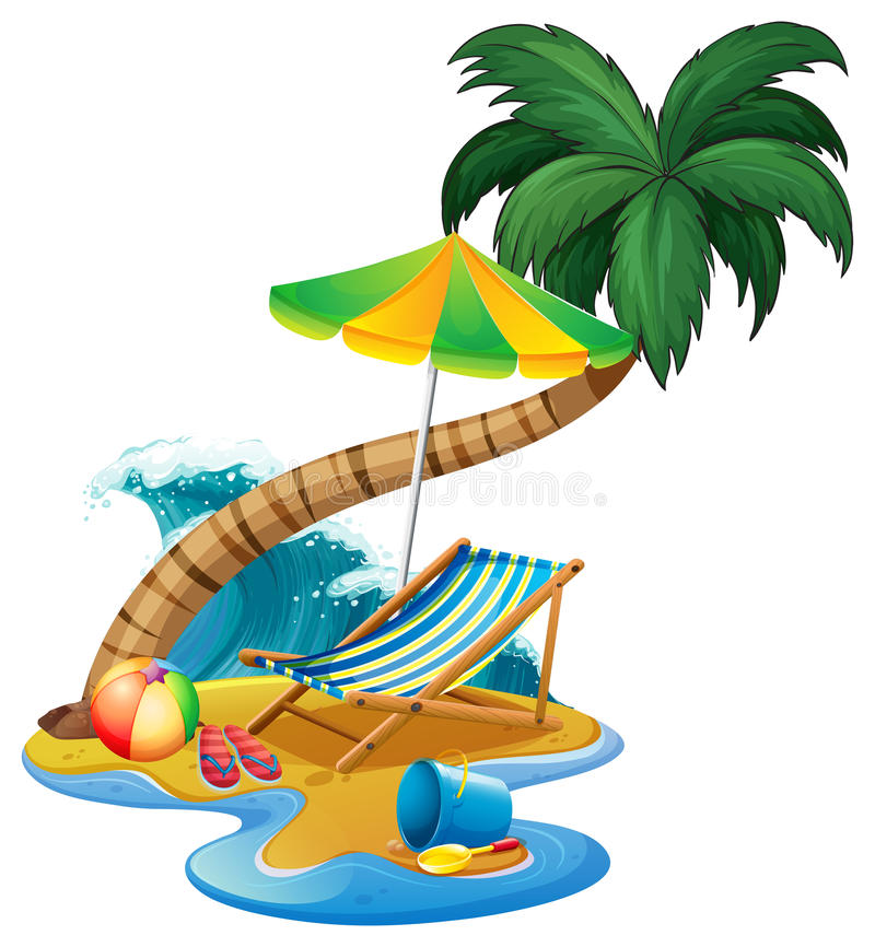 beach scene with seat and umbrella stock vector illustration of rh dreamstime com beach scene clip art free free clipart beach scene