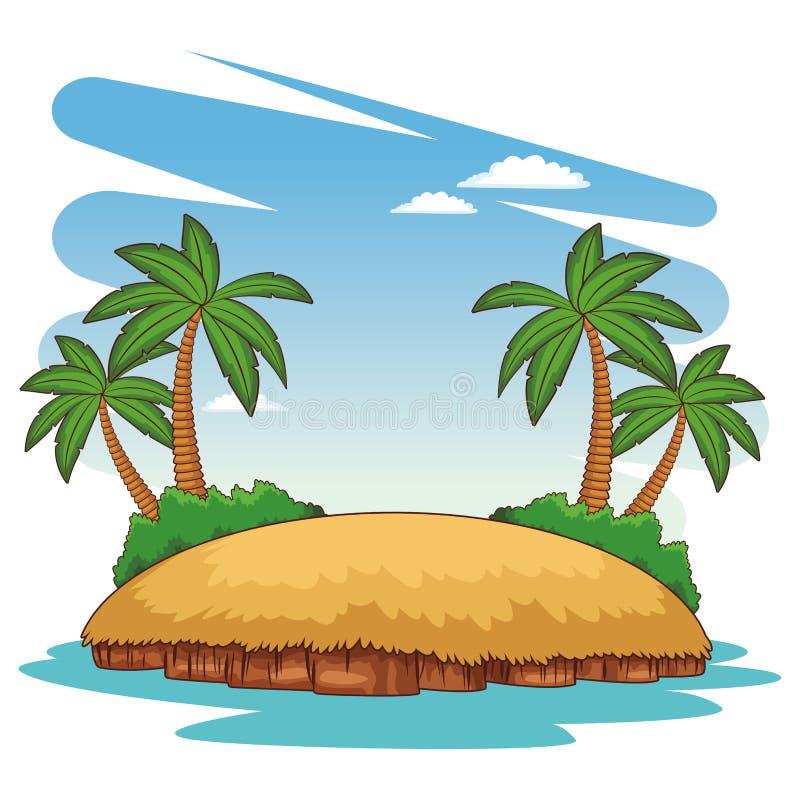 Beach scenery cartoon. Beach island scenery cartoon vector illustration graphic design vector illustration