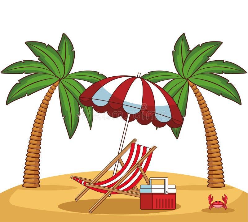 Beach scenery cartoon. Beach scenery with sunchair cooler and umbrella cartoon vector illustration graphic design vector illustration