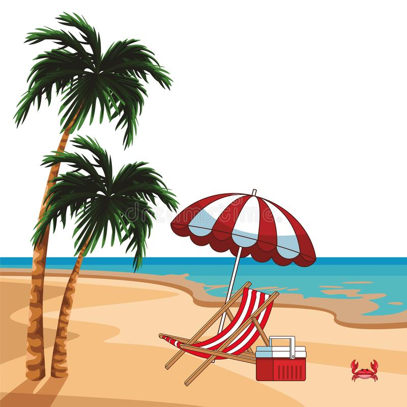Beach scenery cartoon. Beach scenery with sunchair cooler and umbrella cartoon vector illustration graphic design royalty free illustration