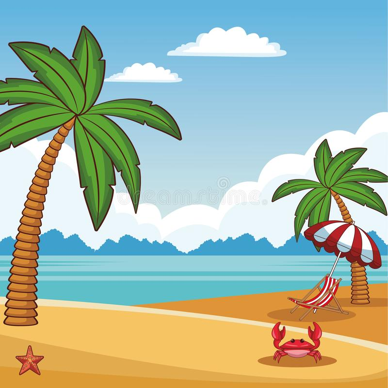 Beach scenery cartoon. Beach scenery with sunchair crab and umbrella cartoon vector illustration graphic design royalty free illustration