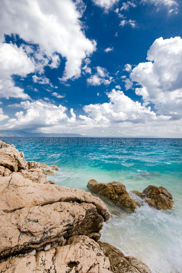 Beach scenery in Croatia, Istria, Europe. View to beach scenery in Croatia, Istria, Europe royalty free stock images
