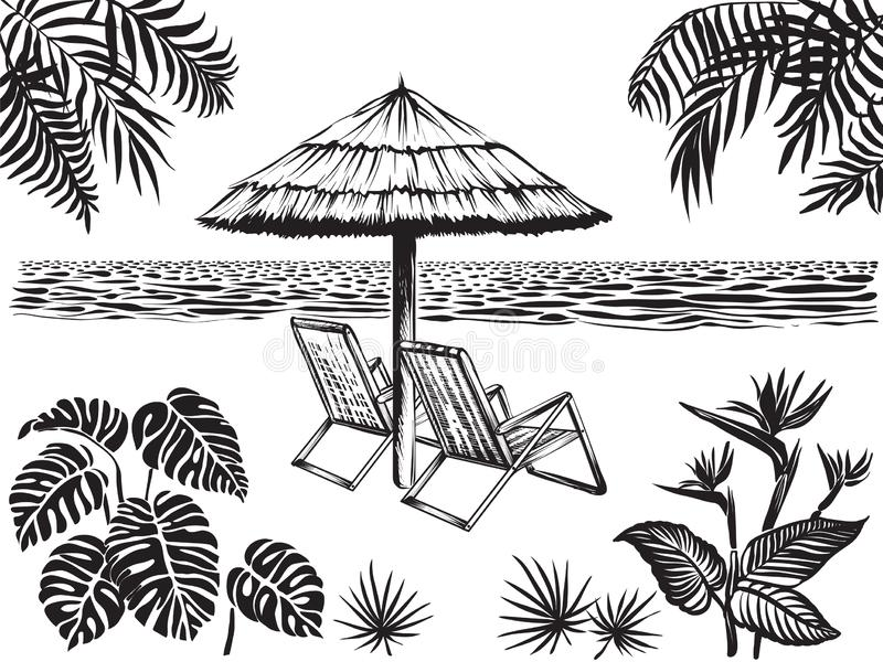 Beach scenery landscape view with tropical leaves. Umbrella and two chairs, vector sketch. stock illustration