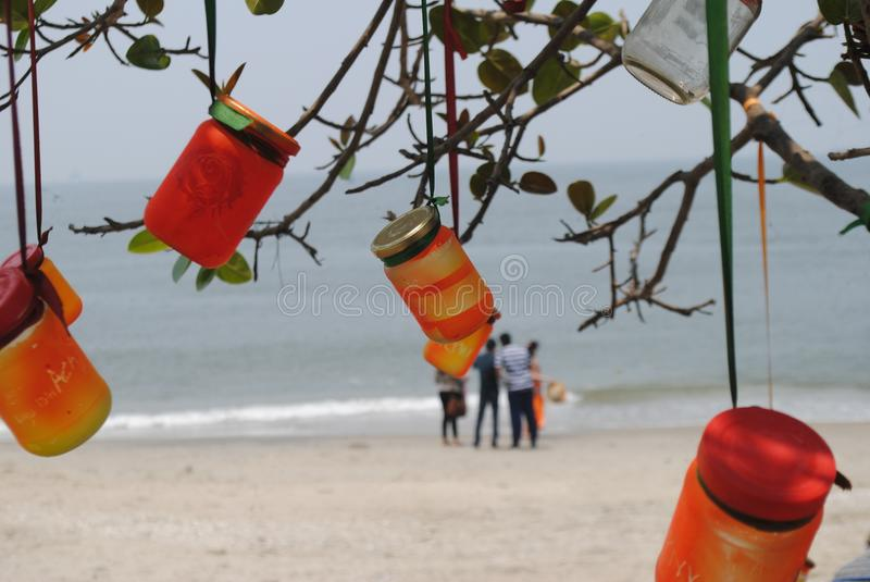Beach scenes. The evening beach scenes in kerala royalty free stock images