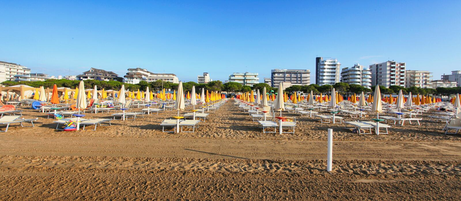 Beach On the Sea. Adriatic sea with shore. Lignano Sabbiadoro, Italy royalty free stock photo