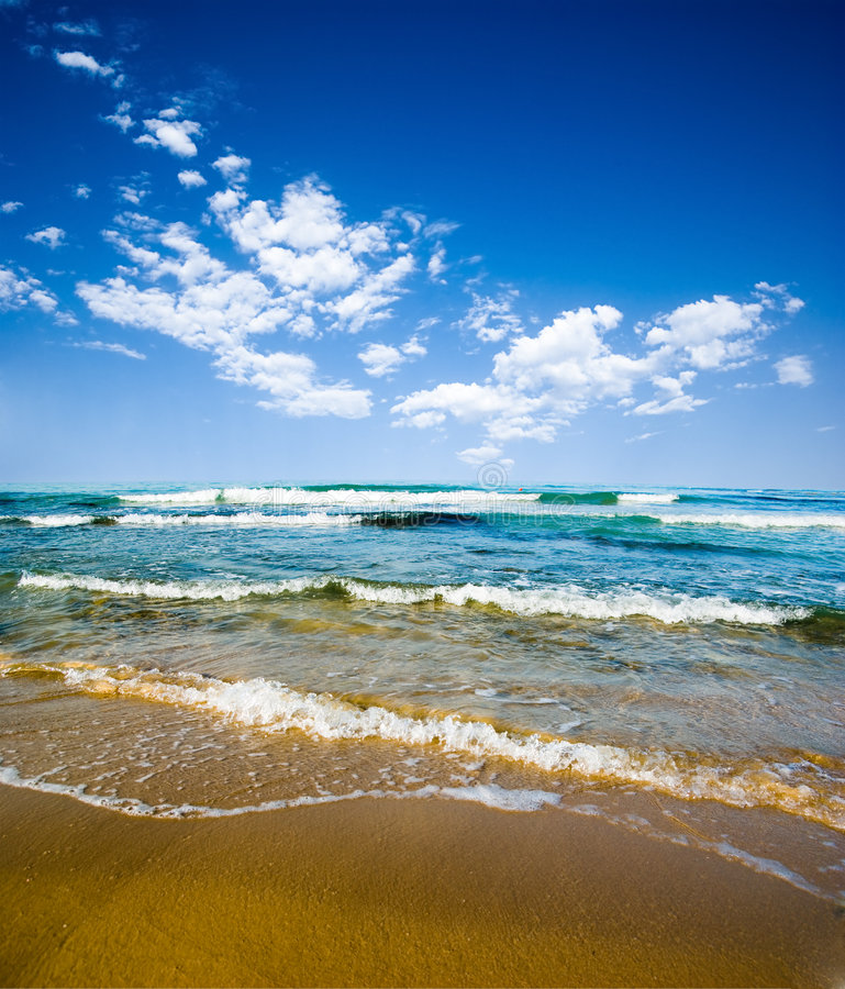 Download Beach, sea and cloudy sky stock photo. Image of beach - 7213526