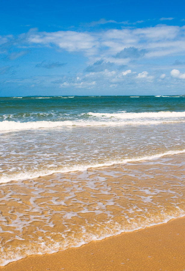 Beach, sea and deep blue sky royalty free stock images