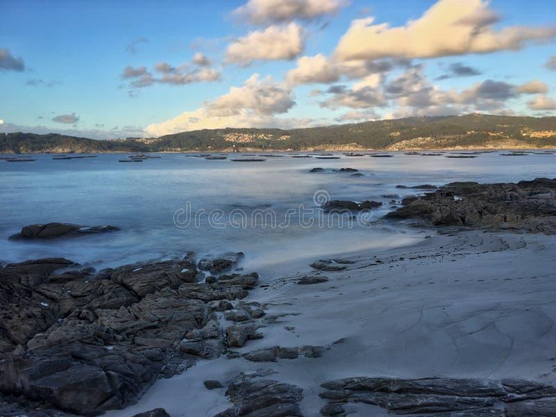 Beach and sea on the Galician coast royalty free stock photography