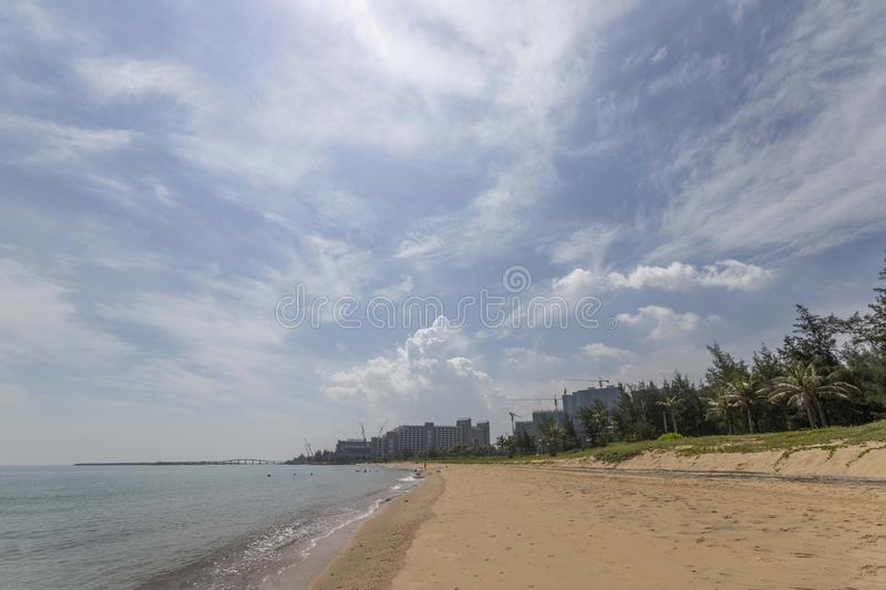 Beach and sea in haikou, hainan, china. Beach and sea palms in haikou, hainan, china asia stock photography