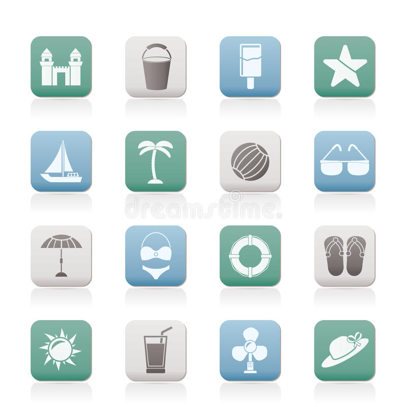 Download Beach, Sea And Holiday Icons Stock Vector - Illustration of sand, clip: 20093439