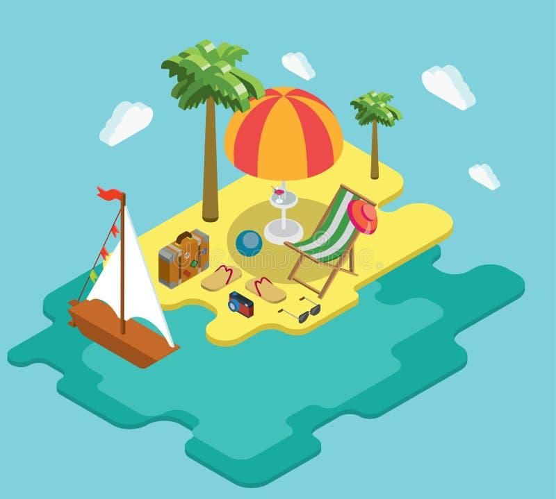 Beach sea ocean yacht summer vacation flat 3d isometric concept royalty free illustration