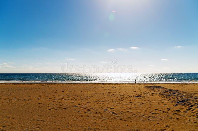 Beach and Sea in Playa Honda, Spain. Scenic view of beach against sky. Photo taken in Playa Honda, Lanzarote, Las Palmas, Spain stock images