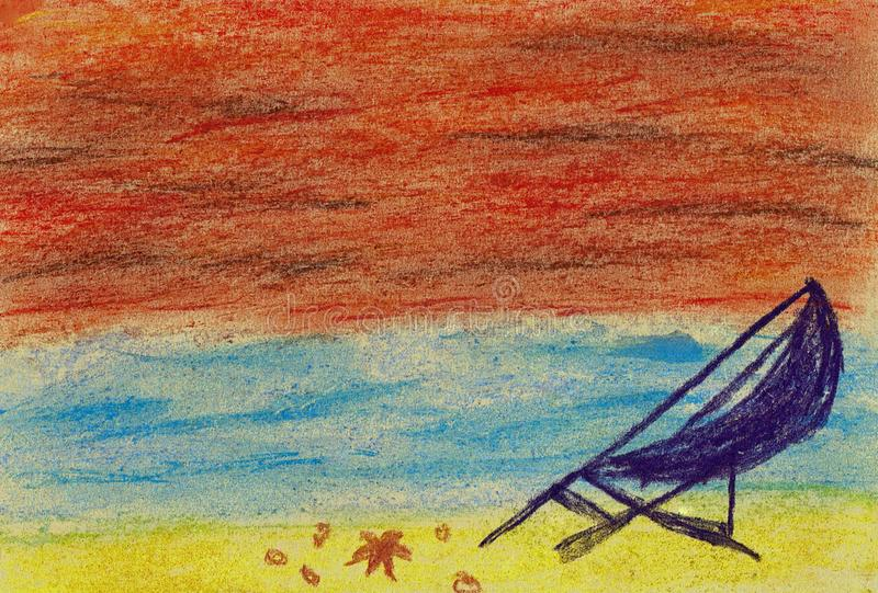 Beach and Sea in a Sunset royalty free illustration
