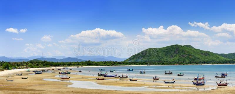 Beach and sea tide at Prachuap Khiri Khan Province Thailand. Panorama beach and sea tide at Prachuap Khiri Khan Province Thailand stock photography