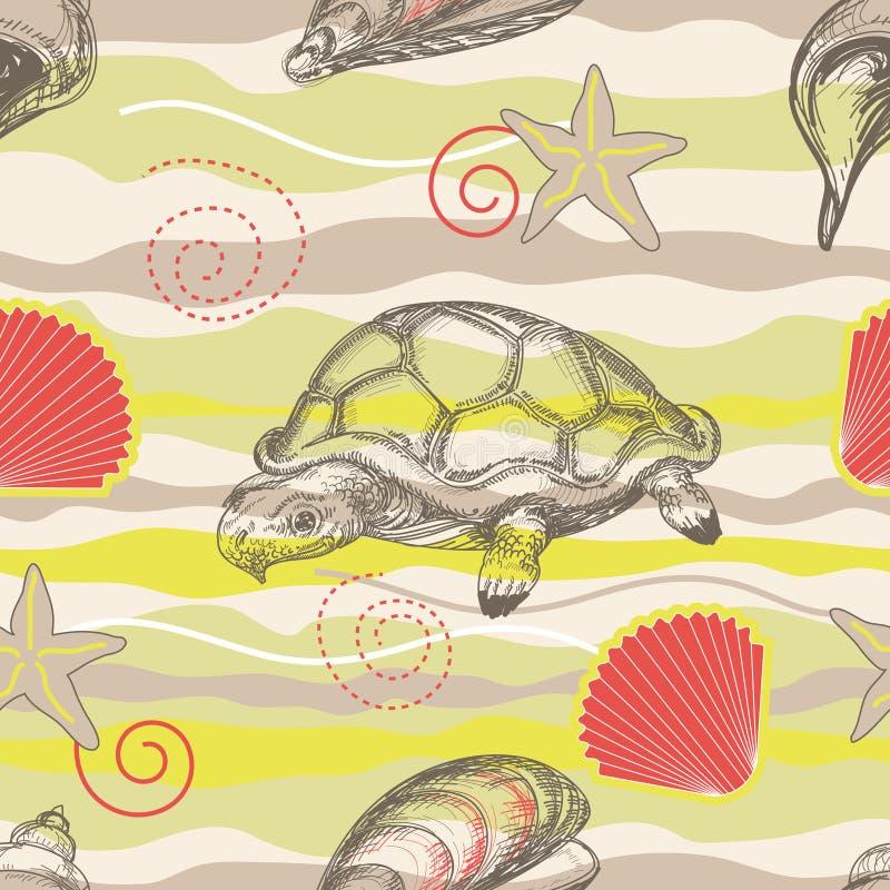 Beach seamless pattern. Stylized sand dunes, turtle and shell seamless pattern royalty free illustration