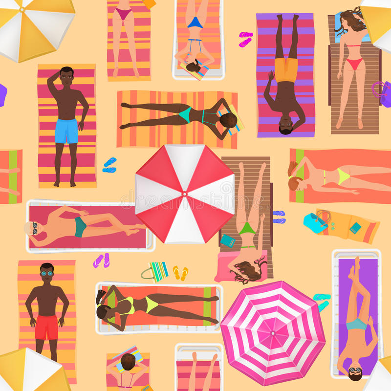 Beach seamless pattern top view. Summer people on a sunny beach. View from above summertime people with Umbrellas vector illustration