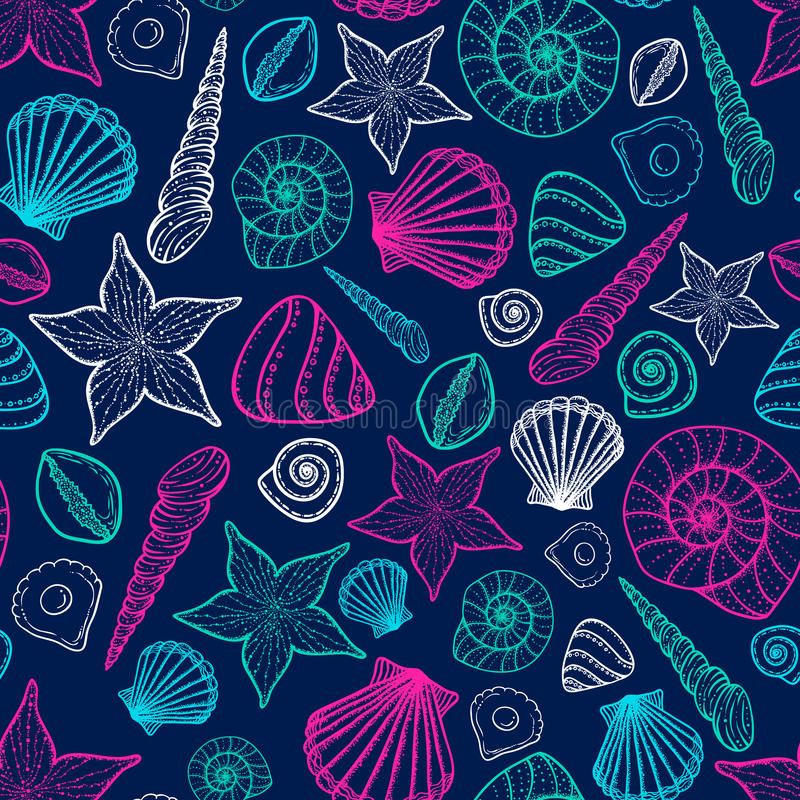 Beach Seashell Pattern. Vector seamless pattern with seashells doodle style. vector illustration