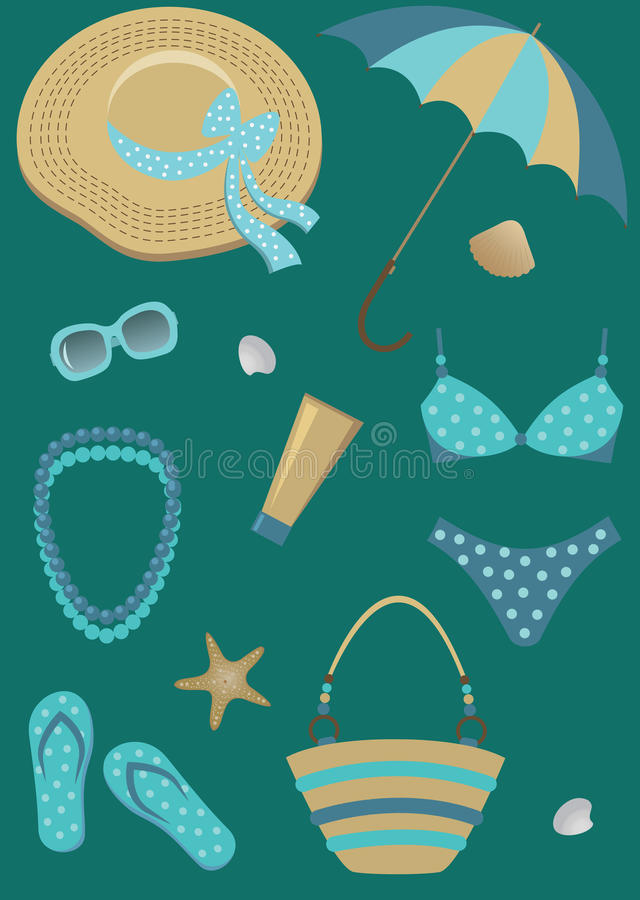 Download Beach set. stock vector. Image of star, shell, beach - 25256631