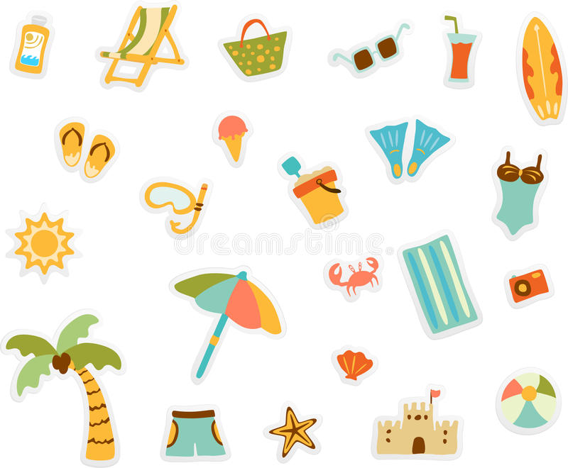 Download Beach set stock vector. Image of sand, starfish, clothes - 9810163