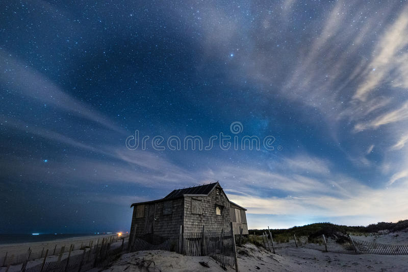 Beach shack. At night stock images