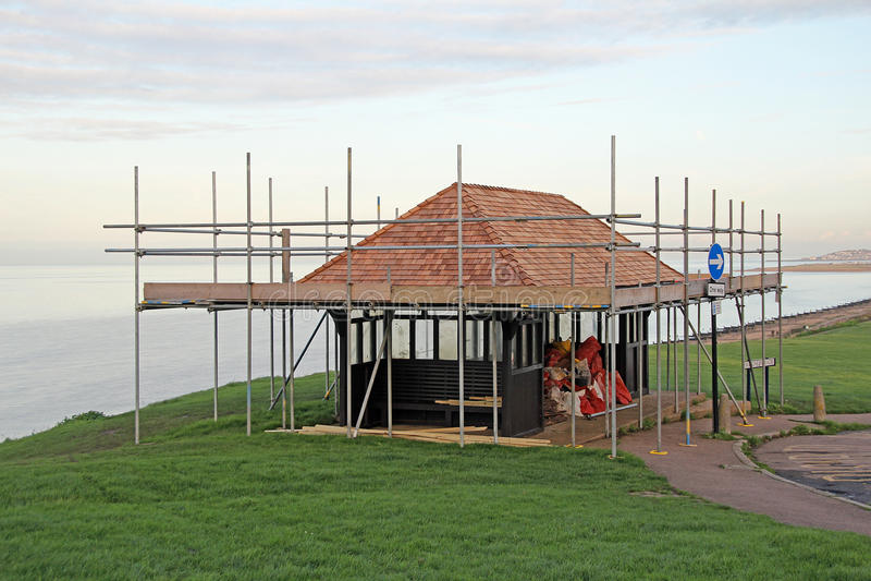 Beach shelter under construction royalty free stock photos