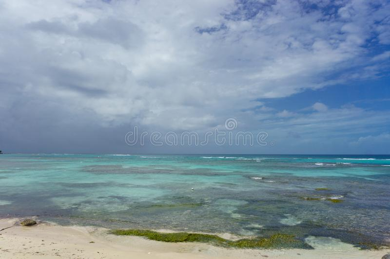 Beach shore with turquoise waters. Beautiful tropical landscape, rich coast with blue waters royalty free illustration