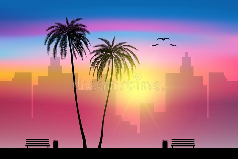 Beach side and tropical palm trees with city sunset landscape background, vector. Illustration, eps 10 file royalty free illustration