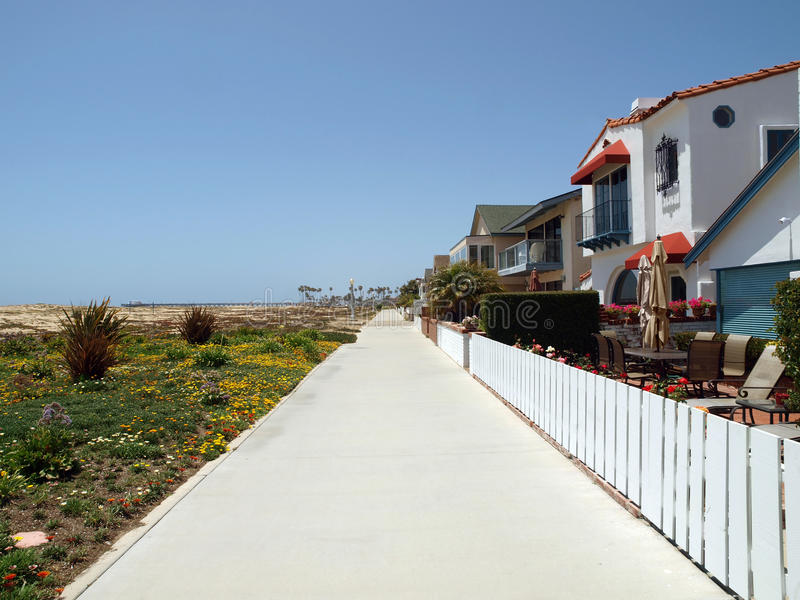 Download Beach Sidewalk stock image. Image of homes, trail, palm - 14456209