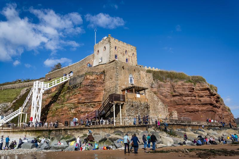 Sidmouth Castle and Jacob`s Ladder, East Devon, England, United Kingdom. Beach and Sidmouth Castle and Jacob`s Ladder, East Devon, England, United Kingdom stock photos