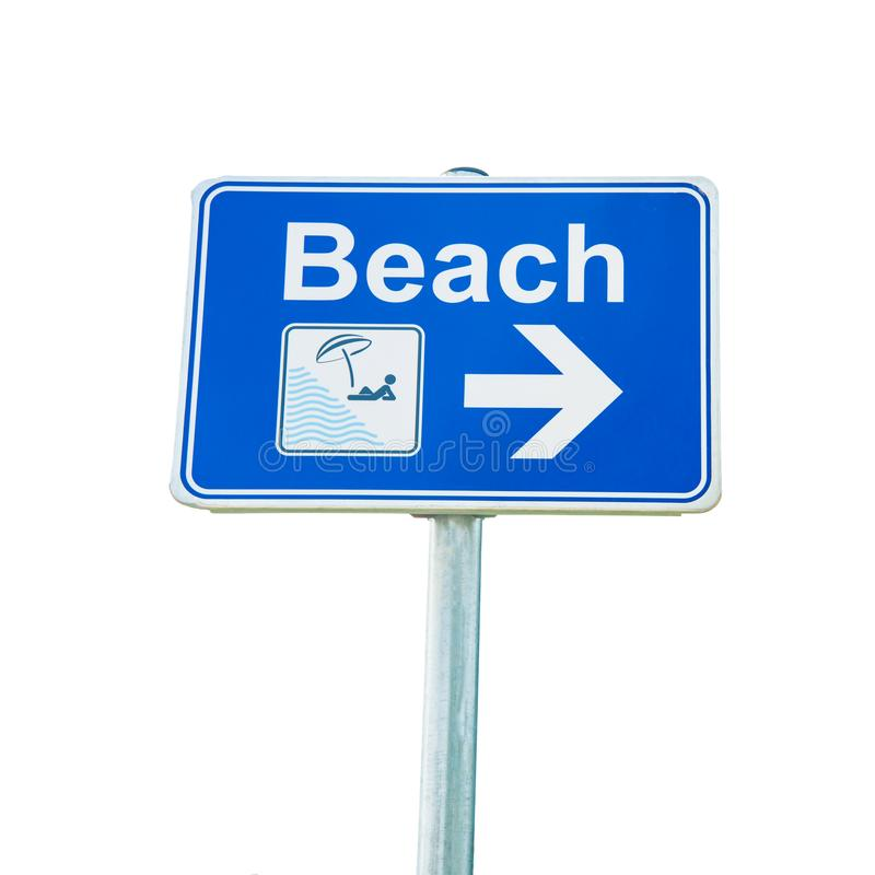 Beach sign with arrow on white background stock image