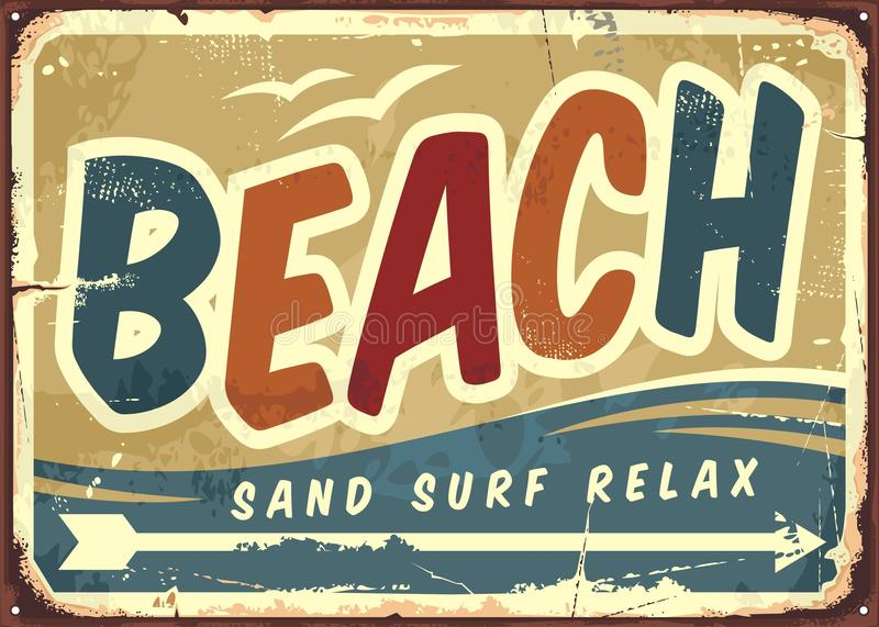 Beach sign. Vector retro background. Vintage sign board with creative typo. Vacation and travel theme royalty free illustration