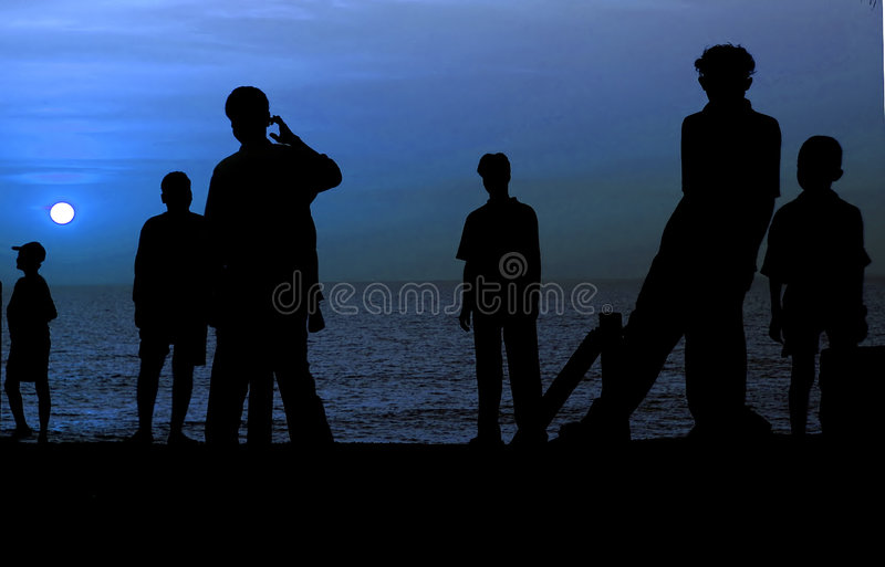 Download Beach Silhouette With Full Moon Stock Image - Image: 1142419