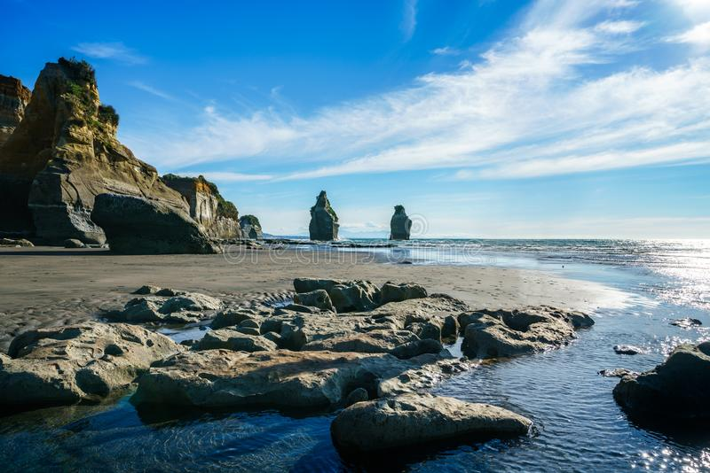 On the beach, 3 sisters and elephant rock, new zealand 59 royalty free stock photo