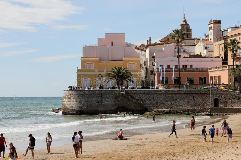 Beach of Sitges city, Catalonia, Spain royalty free stock images