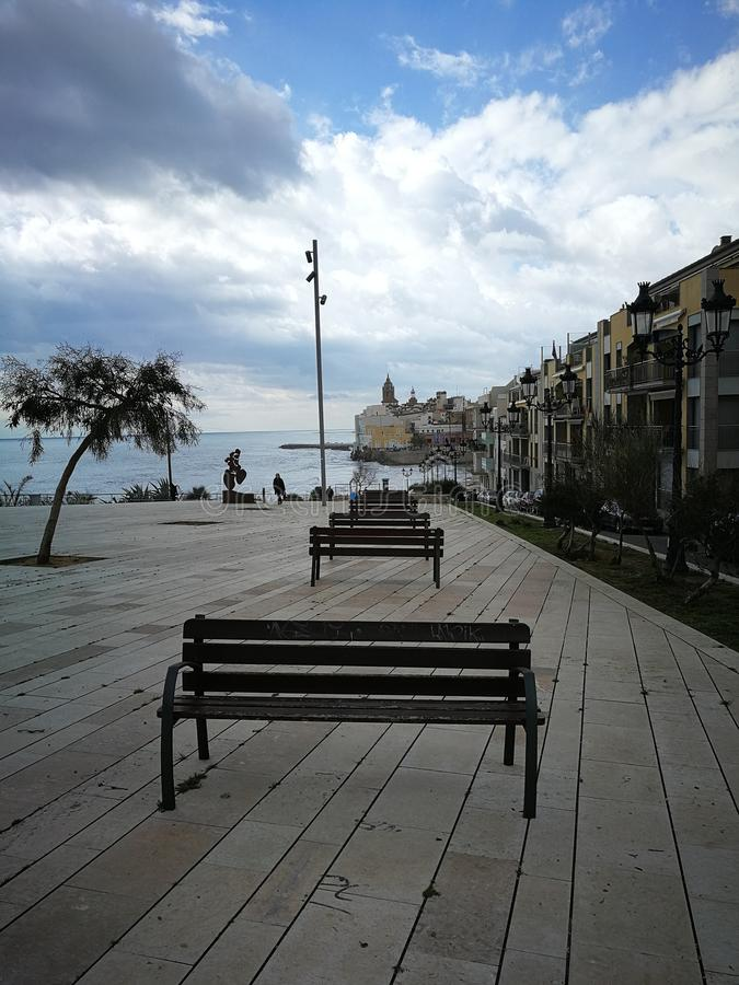 The beach of sitges stock photos