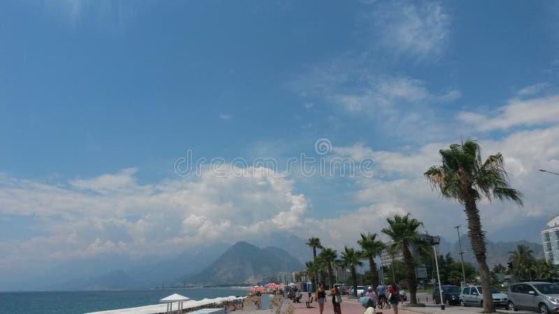 Beach sky clouds Antalya Konyalti stock photo