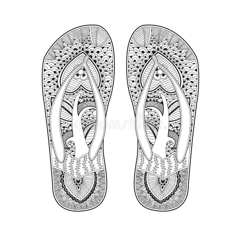 Beach Slippers decorated with a pattern. royalty free illustration