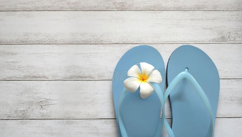 Beach slippers summer background royalty free stock photos