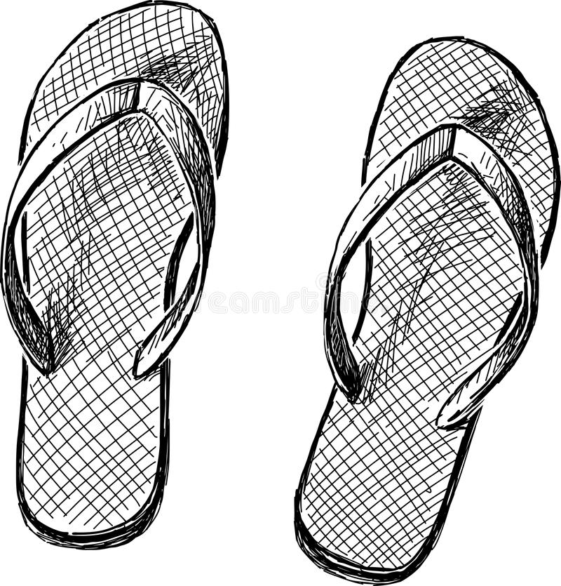 Beach slippers royalty free illustration