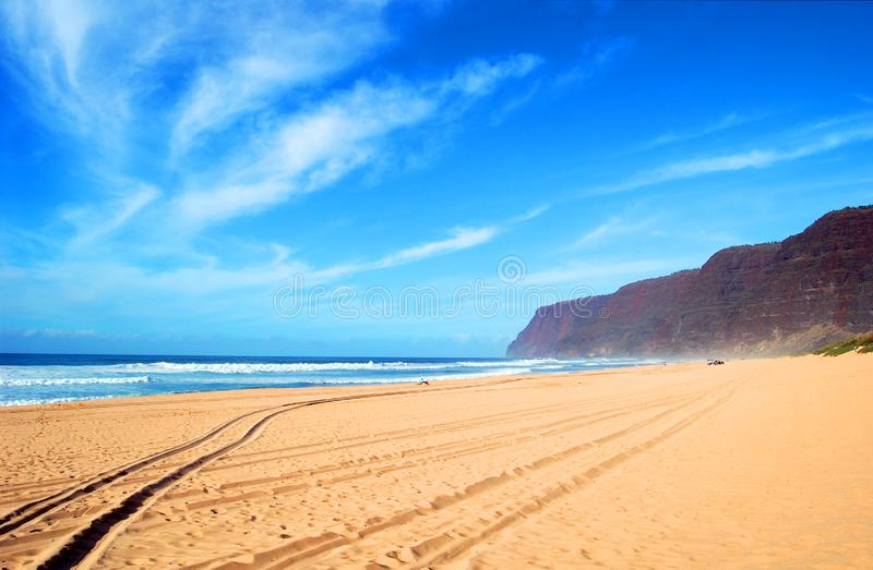Beach Solitude at Polihale State Park stock photography