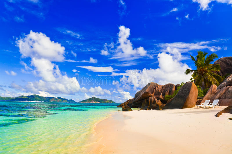 Beach Source d'Argent at Seychelles. Vacation background royalty free stock images