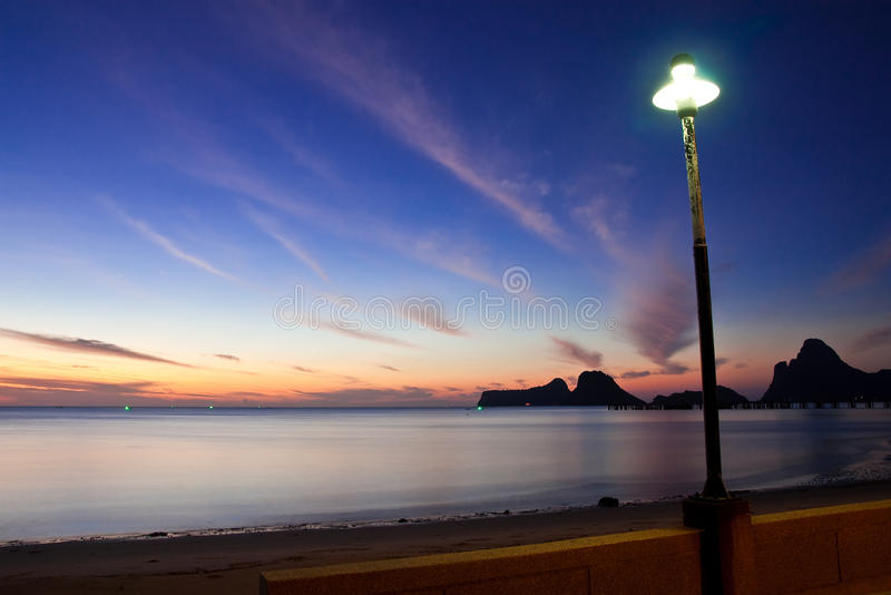 Beach in south of Thailand at twilight royalty free stock photo