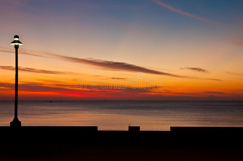 Beach in south of Thailand at twilight royalty free stock photography