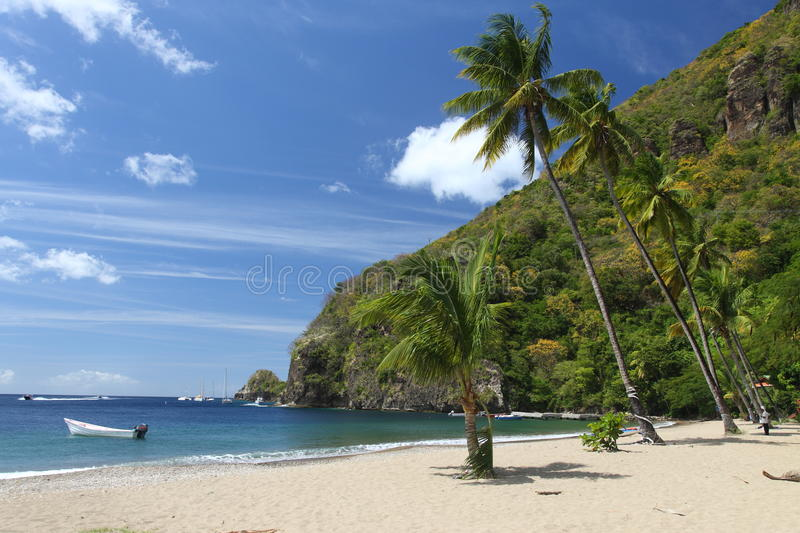 Beach on St. Lucia stock images